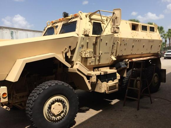 A tank acquired from the Feds cost approximately $2,200 for the City of Riviera Beach Police Department.  It's being outfitted with a 50 caliber gun, and AR plate for the turret gunner protection.  WTF?!